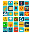 Summer flat icons set Summer holiday vector image