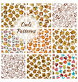 owl seamless pattern background with brown bird vector image