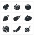 Vegetables set of nine Icons vector image
