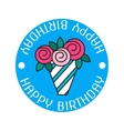 Bouquet roses Color flat icon label badge vector image