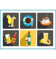 Beverages flat icons set vector image