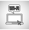 hand draw laptop wifi social network media vector image