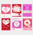 happy valentine s day set poster invitation vector image