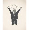 Idea Lamp Head Businessman vector image