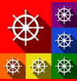 ship wheel sign set of icons with flat vector image