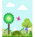 summer landscape with green trees and colorful vector image