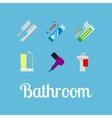 Bathroom items flat icon set vector image