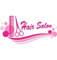 hair salon sign with scissors and design elements vector image