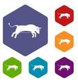 Bull icons set vector image