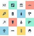 set of simple barber icons vector image