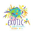 exotic logo original design summer travel hand vector image vector image
