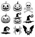 set of halloween icons halloween pumpkin bats vector image