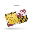 State of Maryland phone sim card with flag vector image