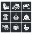 The village life Icons Set vector image
