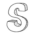English alphabet - hand drawn letter S vector image