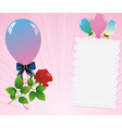 balloons card rose vector image vector image
