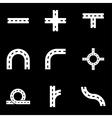 white road elements icon set vector image