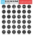 interior furniture circle white black icon vector image