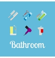 Bathroom items flat icon set vector image