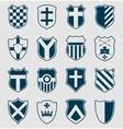 Set of blue heraldic shields vector image