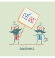 Boss shows a poster with a choice of business vector image vector image