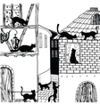 cat in town black and white vector image