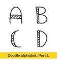 Cute hand drawn alphabet doodle letters A-D vector image