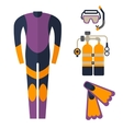 wetsuit with mask and scuba diving vector image