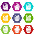 barrel of beer icon set color hexahedron vector image