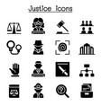 justice law court legal icon set vector image