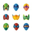 Set of super hero masks in flat style vector image