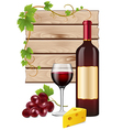 Wine grapes and cheese vector image