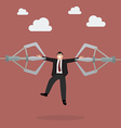 Robotic claws are tear businessman apart vector image