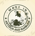 Stamp with map of Antigua and Barbuda vector image