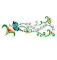 Blue butterfly and flowers vector image