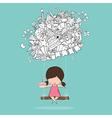 Cartoon girl swinging on happy birthday doodles vector image