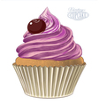 Cupcake in engraving style vector image