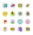 Soccer Icons set comics style vector image