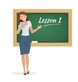 woman teacher stands at the blackboard vector image