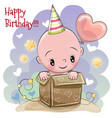 birthday card with cute baby vector image