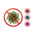 stop sign on bacteria vector image vector image
