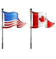 north america flagpoles vector image