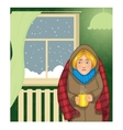 Woman with cup of hot drink in the cold apartment vector image