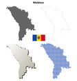 Moldova outline map set vector image