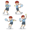 Tennis boy set cute flat characters vector image