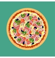 Pizza Tomatoes mushrooms onions and olives vector image