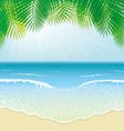 Beach Sea Waves and Palm Leaves vector image