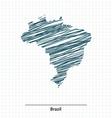 Doodle sketch of Brazil map vector image