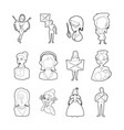 woman silhouette icon set outline style vector image