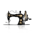 Sewing machine retro sketch for your design vector image